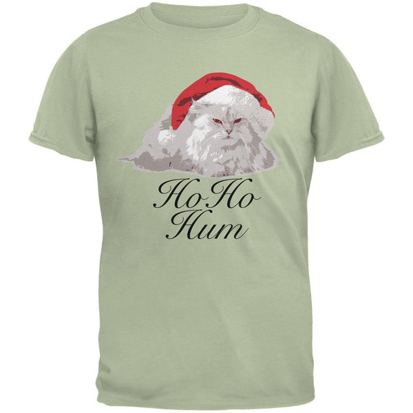 Christmas Ho Ho Hum Cat Serene Green Adult T-Shirt