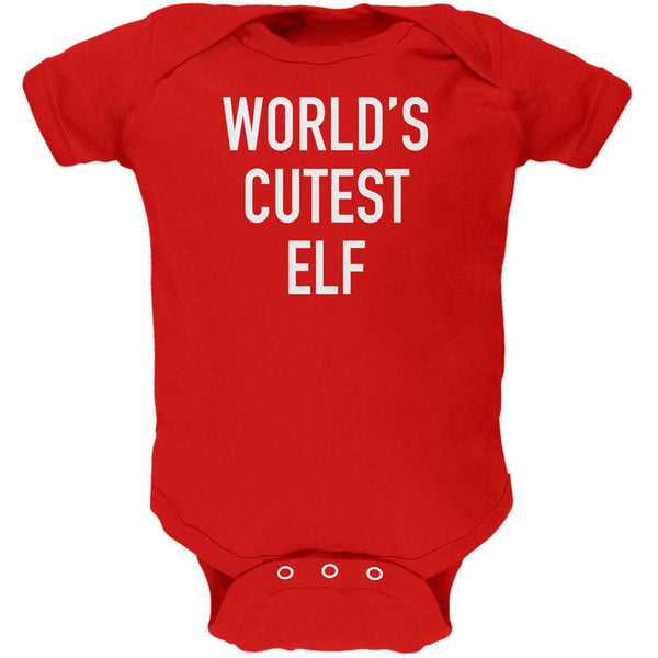 Christmas Worlds Cutest Elf Red Soft Baby One Piece