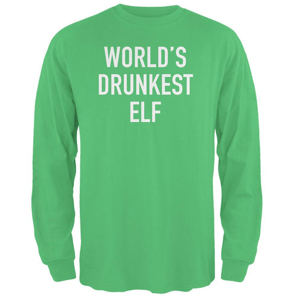 Christmas Worlds Drunkest Elf Irish Green Adult Long Sleeve T-Shirt