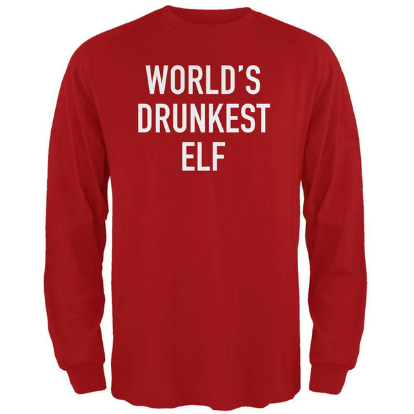 Christmas Worlds Drunkest Elf Red Adult Long Sleeve T-Shirt