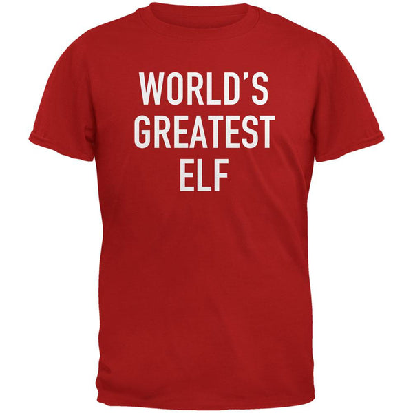 Christmas Worlds Greatest Elf Red Adult T-Shirt