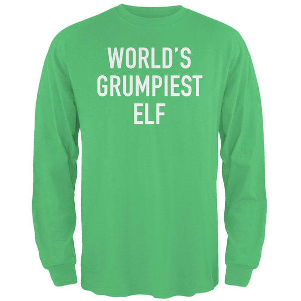 Christmas Worlds Grumpiest Elf Irish Green Adult Long Sleeve T-Shirt