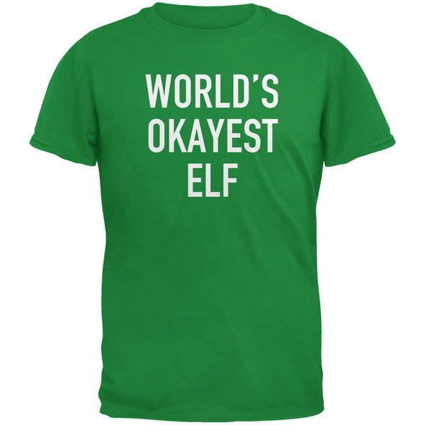 Christmas Worlds Okayest Elf Irish Green Adult T-Shirt