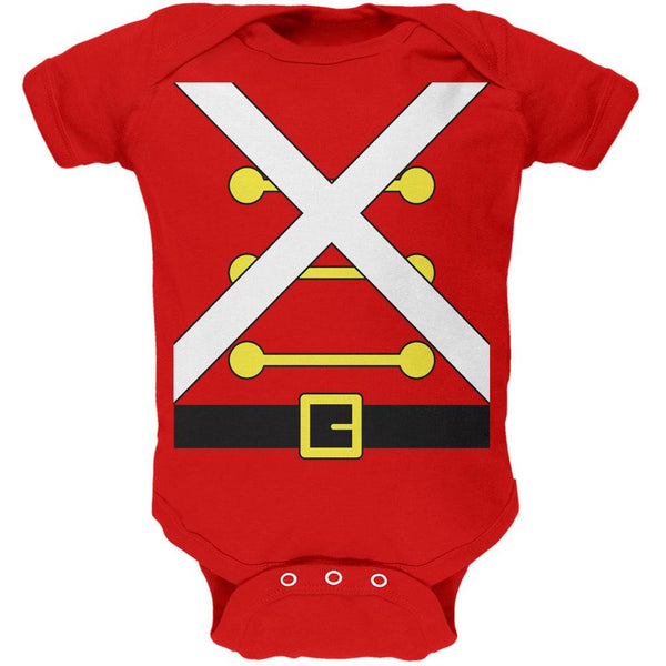 Christmas Toy Soldier Costume Red Soft Baby One Piece