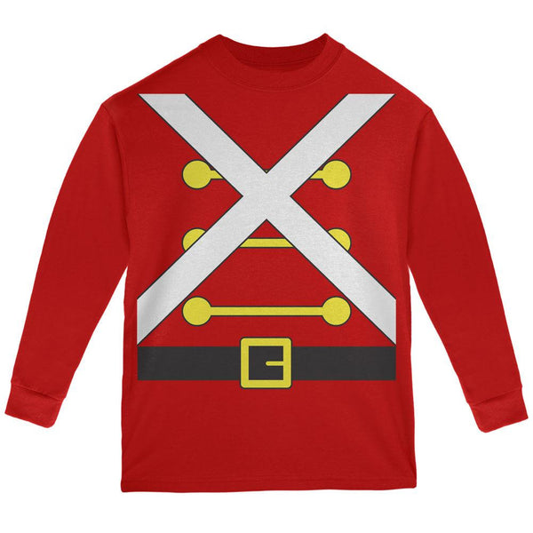 Christmas Toy Soldier Costume Red Youth Long Sleeve T-Shirt