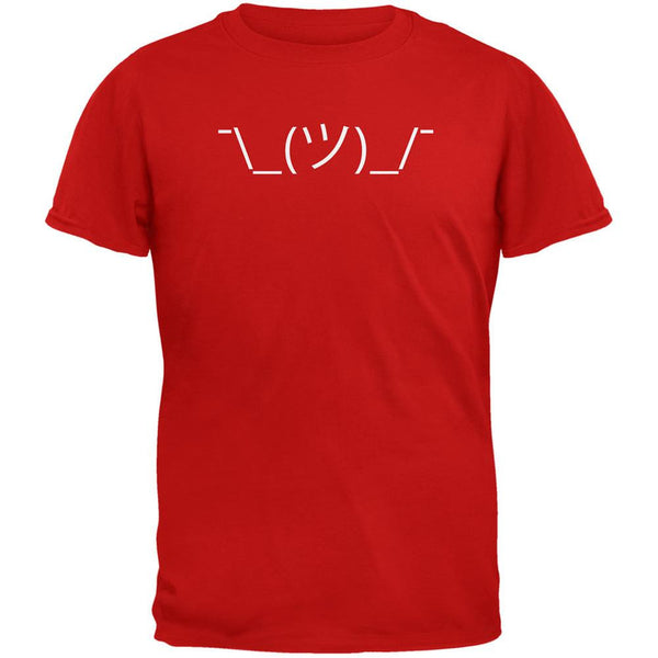 Funny Emojicon Shrug Red Adult T-Shirt