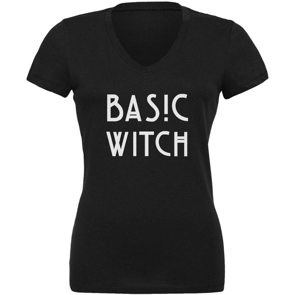 Basic Witch Black Juniors V-Neck T-Shirt