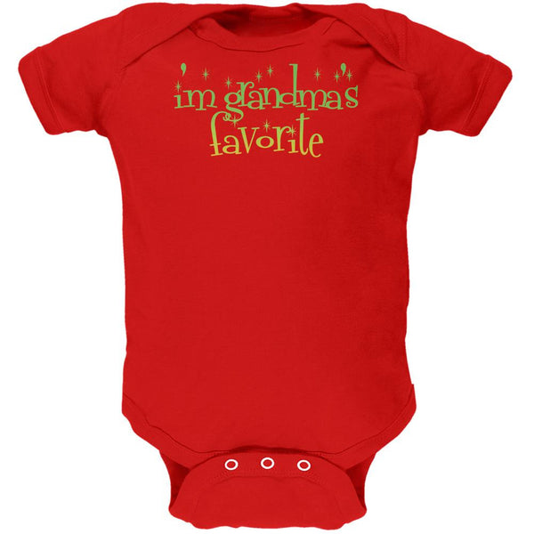Christmas I'm Grandma's Favorite Red Soft Baby One Piece