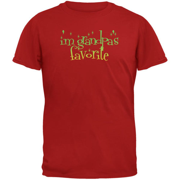 Christmas I'm Grandpa's Favorite Red Adult T-Shirt