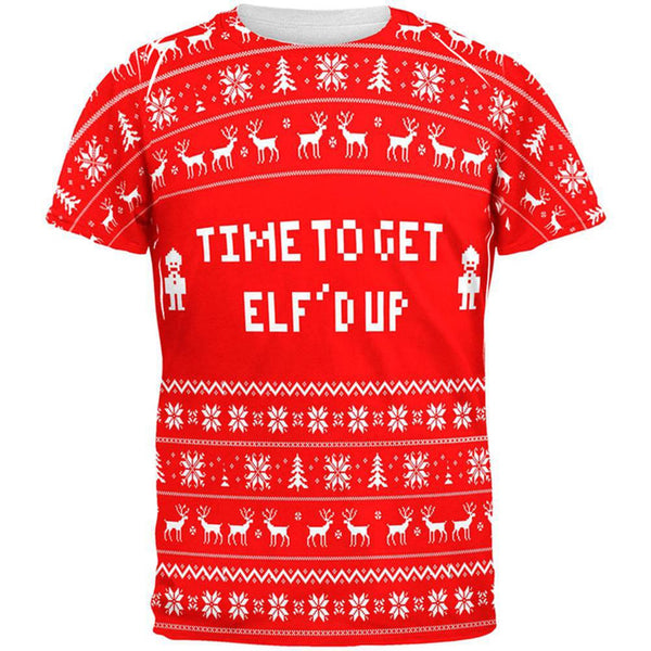 Christmas Time To Get Elf'd Up Ugly Sweater All Over Adult T-Shirt