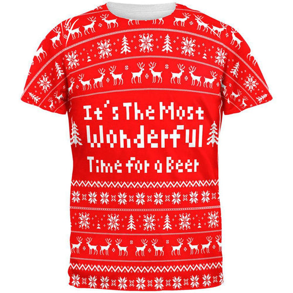 Christmas Wonderful Time For Beer Ugly Sweater All Over Adult T-Shirt