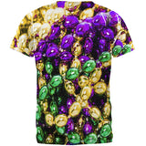 Mardi Gras Beads All Over Adult T-Shirt