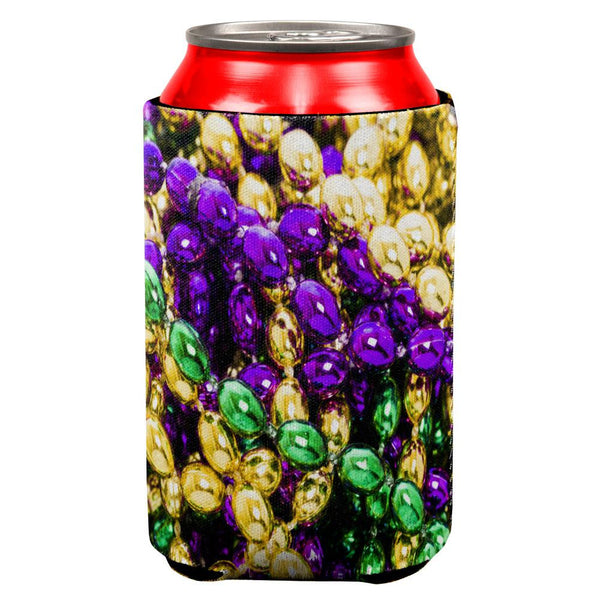 Mardi Gras Beads All Over Can Cooler