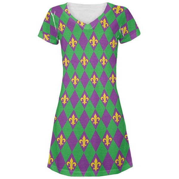 Mardi Gras Fleur De Lis All Over Juniors V-Neck Dress