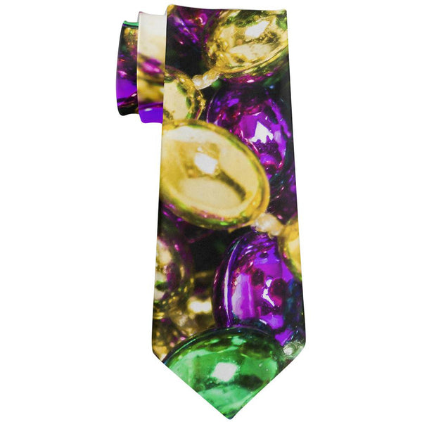 Mardi Gras Beads All Over Neck Tie