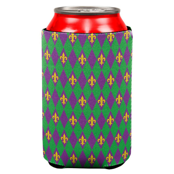 Mardi Gras Fleur De Lis All Over Can Cooler