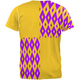 Mardi Gras Party Purple and Gold All Over Adult T-Shirt