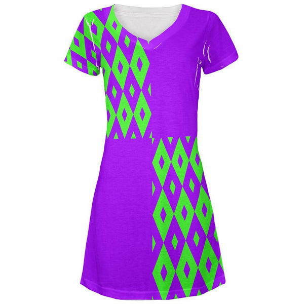 Mardi Gras Party Purple and Green All Over Juniors V-Neck Dress