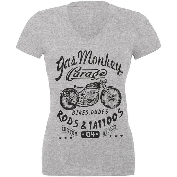 Gas Monkey Garage - Biker Babe Juniors V-Neck T-Shirt