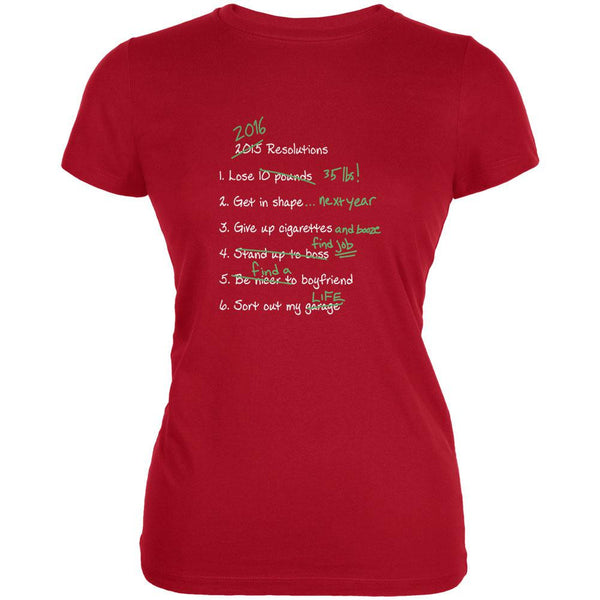 Funny 2016 Resolution List Red Juniors Soft T-Shirt