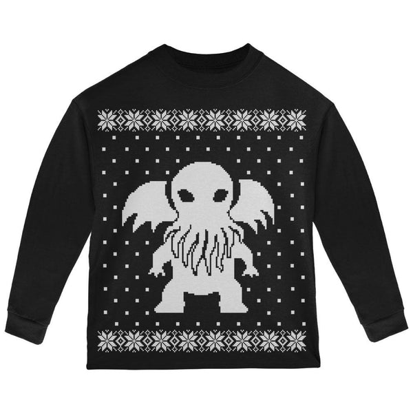 Big Cthulhu Ugly Lovecraft Christmas Sweater Black Toddler Long Sleeve T-Shirt