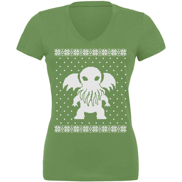 Big Cthulhu Ugly Lovecraft Christmas Sweater Leaf Juniors V-Neck T-Shirt