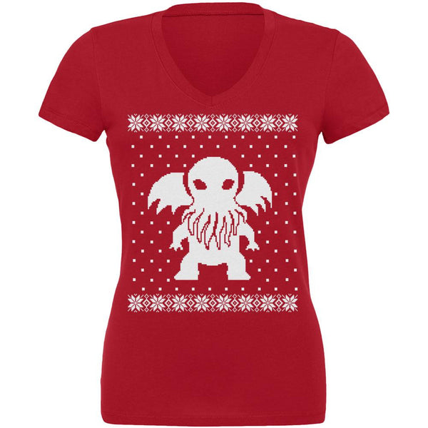 Big Cthulhu Ugly Lovecraft Christmas Sweater Red Juniors V-Neck T-Shirt