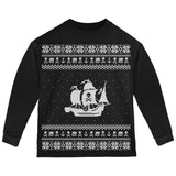 Pirate Ship Ugly Christmas Sweater Black Toddler Long Sleeve T-Shirt