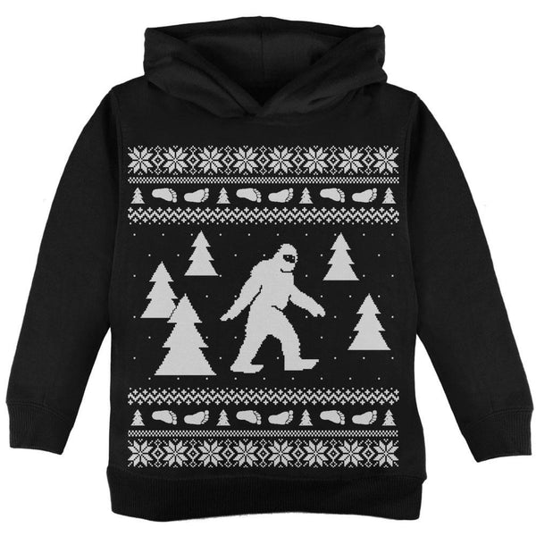 Sasquatch Ugly Christmas Sweater Black Toddler Hoodie