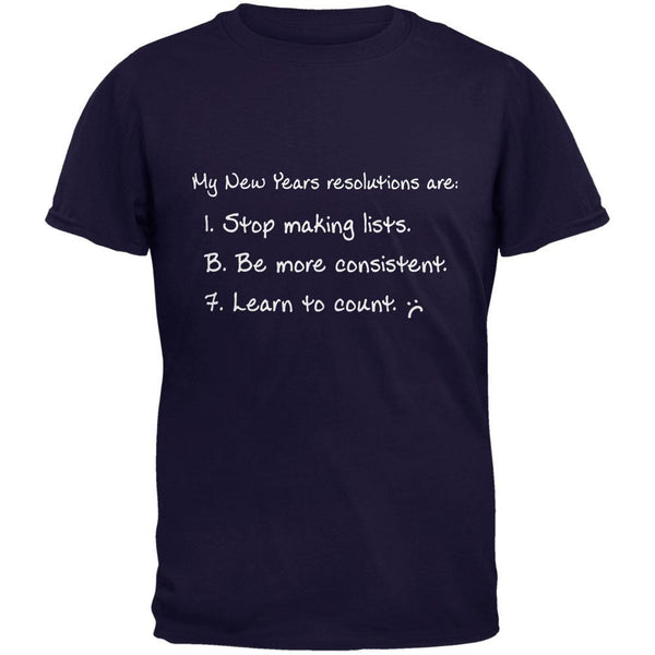 New Years Learn to Count Navy Adult T-Shirt