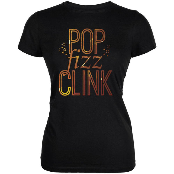 New Years Pop Fizz Clink Black Juniors Soft T-Shirt