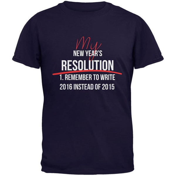 New Years Wrong Date Resolution Navy Adult T-Shirt
