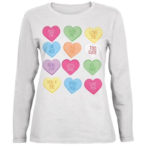 Valentine's Day Candy Hearts White Womens Long Sleeve T-Shirt