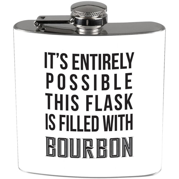 This Flask is Filled with Bourbon Full Wrap Steel Flask White