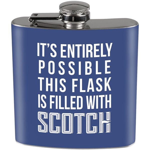 This Flask is Filled with Scotch Full Wrap Steel Flask Blue