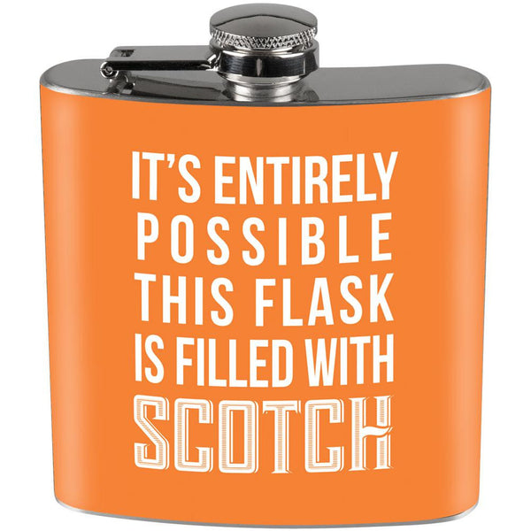This Flask is Filled with Scotch Full Wrap Steel Flask Orange