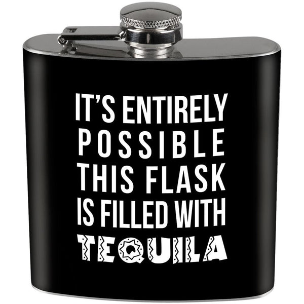 This Flask is Filled with Tequila Full Wrap Steel Flask Black