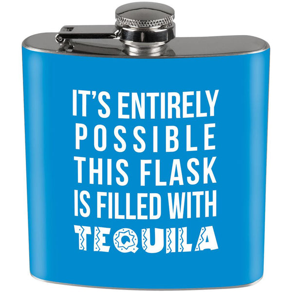 This Flask is Filled with Tequila Full Wrap Steel Flask Lt Blue