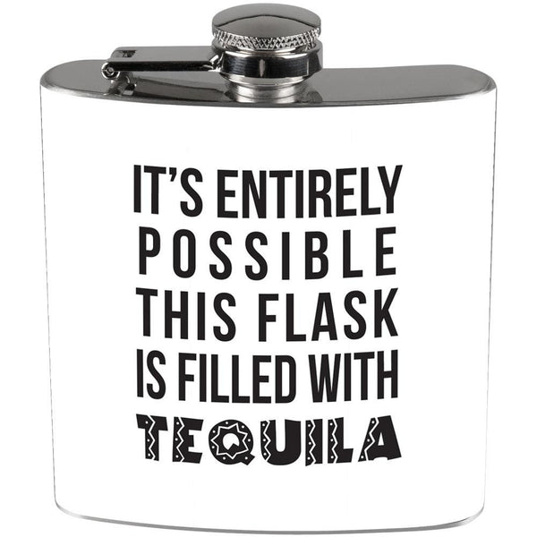 This Flask is Filled with Tequila Full Wrap Steel Flask White