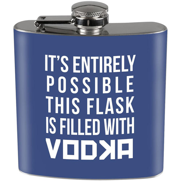 This Flask is Filled with Vodka Full Wrap Steel Flask Blue