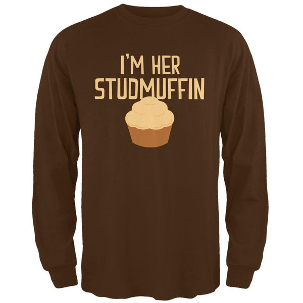 Valentine's Day I'm Her Studmuffin Brown Adult Long Sleeve T-Shirt