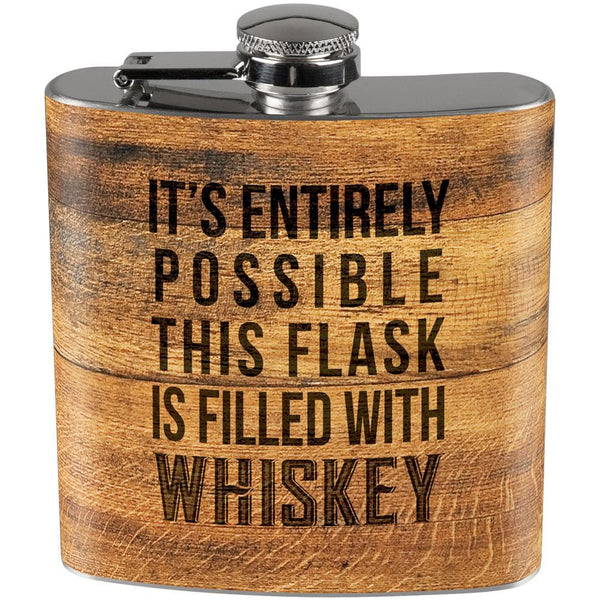 This Flask is Filled with Whiskey Full Wrap Steel Flask Woodburned