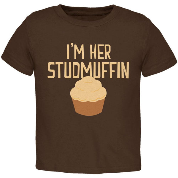Valentine's Day I'm Her Studmuffin Brown Toddler T-Shirt