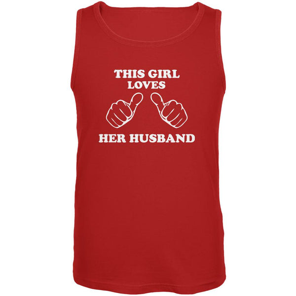 Valentine's Day This Girl Loves Her Husband Red Adult Tank Top