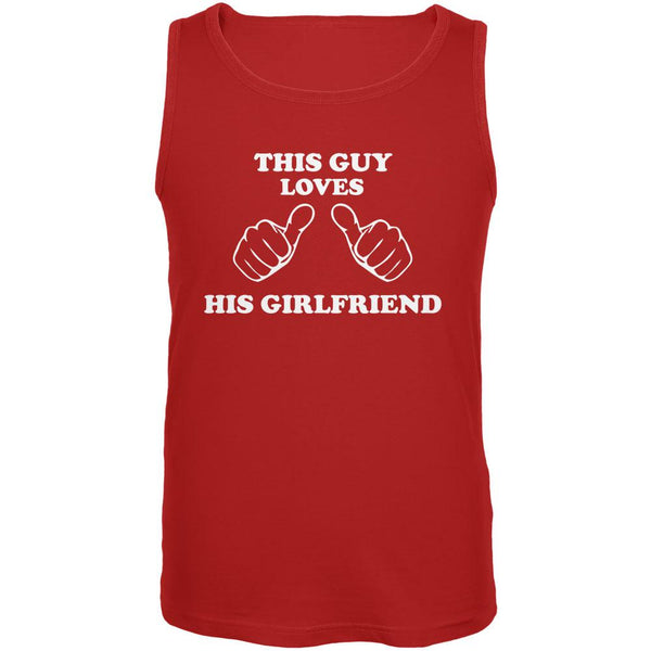 Valentine's Day This Guy Loves His Girlfriend Red Adult Tank Top