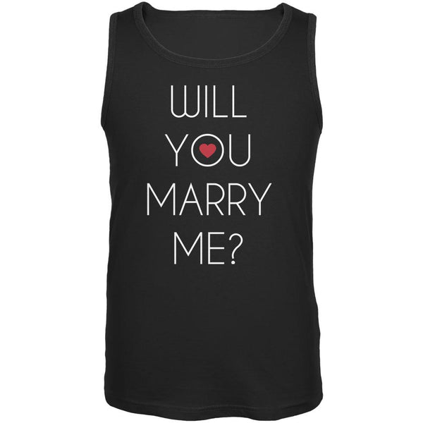 Valentine's Day Will You Marry Me? Black Adult Tank Top