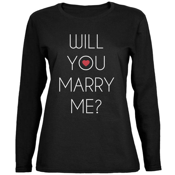 Valentine's Day Will You Marry Me? Black Womens Long Sleeve T-Shirt
