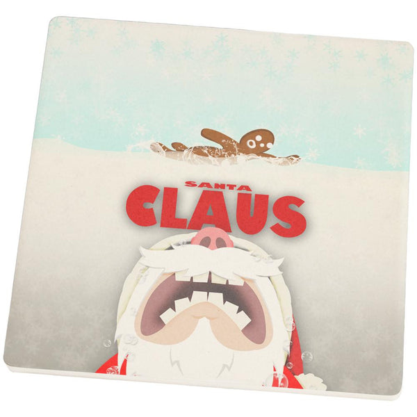 Christmas Santa Jaws Claus Horror Set of 4 Square Sandstone Coasters