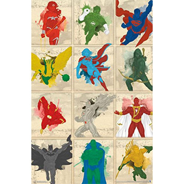 Justice League of America - Simplistic Grid 22x34 Standard Wall Art Poster