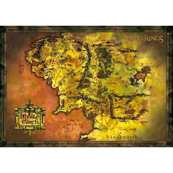 Lord of the Rings - Map of Middle Earth 24x36 Standard Wall Art Poster
